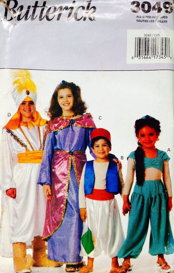 3041 Butterick Costumes Boys And Girls Aladdin Costumes
