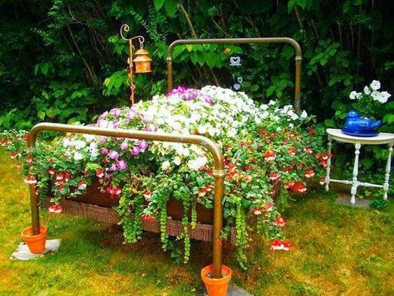how to reuse and recycle old wood bed for decorating with flowers and landscaping ideas