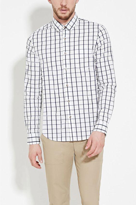 Windowpane-Patterned Shirt