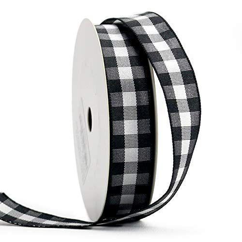 Midi Ribbon 1 Black White Gingham Ribbon Woven Edge 25 Continuous Yards