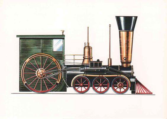 www.technikmuseum-online.de BAmerikanische Schnellzug-Lokomotive (1848) Sie fuhr auf Strecken der Camden- und Amboy-Bahn in den USA und war für Holzfeuerung eingerichtet. Der Heizer hatte seinen Platz vor der tiefliegenden Feuerkiste unter dem Führerstand des Lokführers.eitrag 9