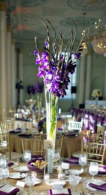Gladioli centerpieces and purple on pinterest