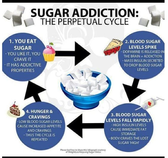 Sugar Addiction- sugar releases the same chemical endorphins that heroine and other drugs do. Crazy!