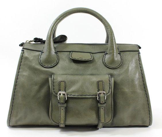 chloe green leather handbag paddington