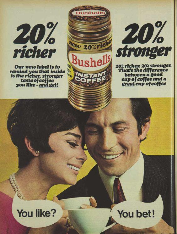 Bushells Instant Coffee Magazine Advertisement Ad February 1970 Vintage Retro