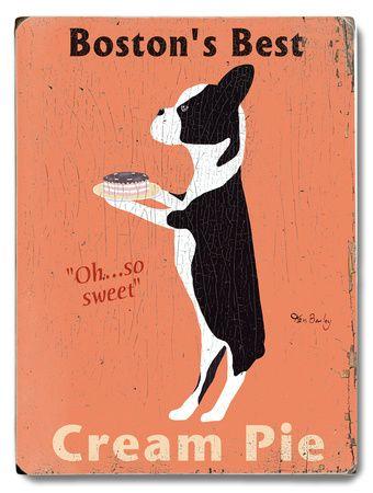 Boston's Best Cream Pie Wood Sign