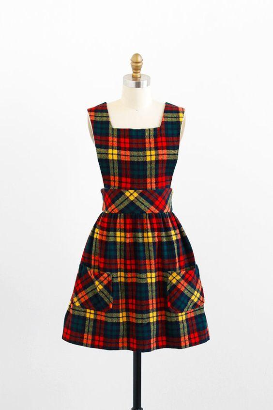vintage 1960s dress / 60s dress / Plaid Schoolgirl Jumper with ...