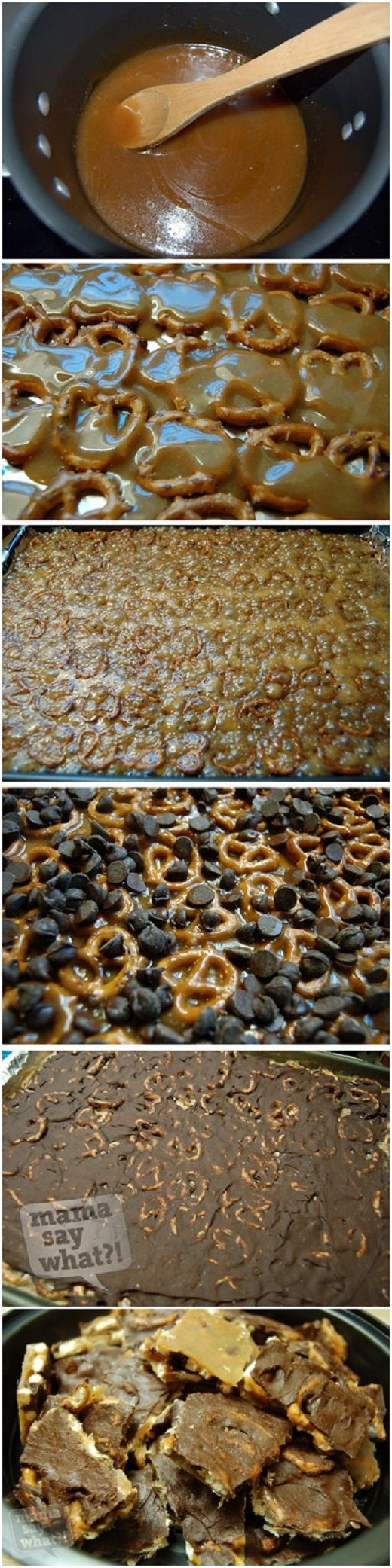 Salted Caramel Pretzel Bark ½ bag of mini pretzel twists  2 sticks of butter (1 cup total)  1 cup of brown sugar  1 bag of chocolate chips (2 cups)  Sea salt or table salt