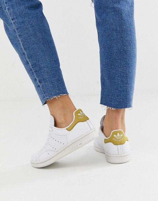 adidas Originals white and yellow Stan