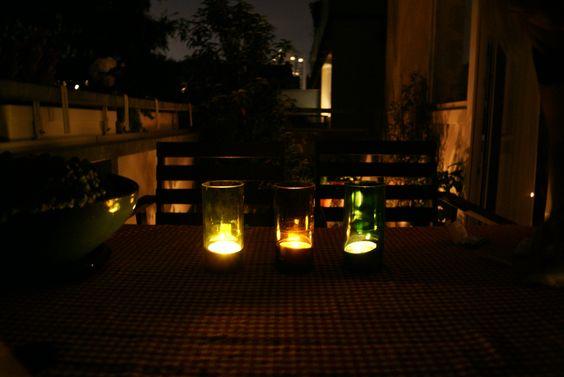DIY Windlichter auf dem Balkon winebottles