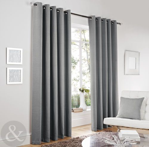 Luxury Herringbone Tweed Silver Grey Curtains - Lined Modern Eyelet Curtains | eBay