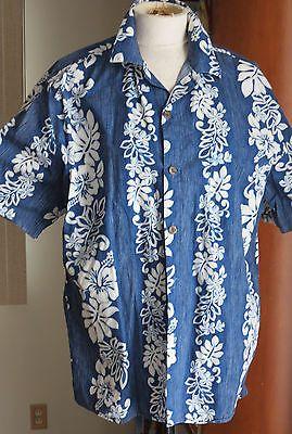 Hilo Hattie Mens Hawaiian Shirt Aloha Camp  Blue Hibiscus Floral Luau Lei Large