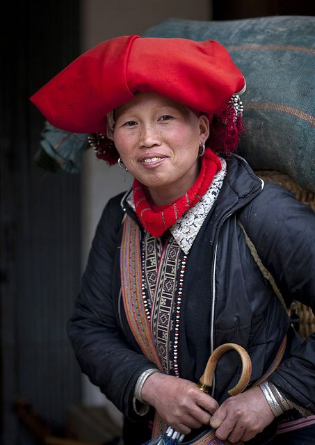Red Dzao Woman With A Red Headgear, Sapa, Vietnam | by Eric Lafforgue