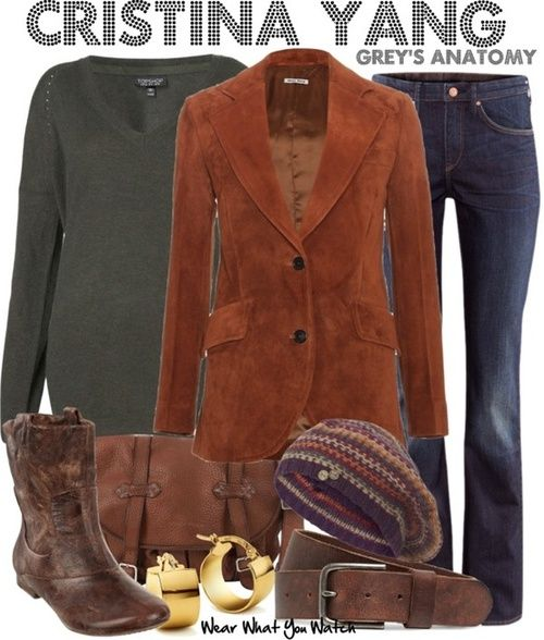 So cozy for a winter day - Love the sweater, hat, worn leather.