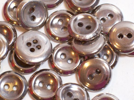 Silver Buttons, Silvertone Metal Coated Plastic Core Buttons 9/16 inch diameter x 25 Pieces, 2 Hole Buttons by GriffithGardens on Etsy
