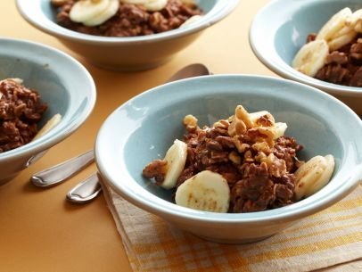 """Hot Chocolate"" Banana-Nut Oatmeal #Breakfast #Grains #Fruit #MyPlate"