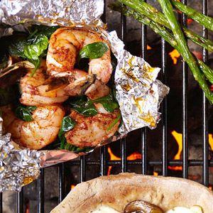 Spinach shrimp foil packet