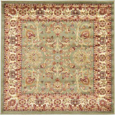 Three Posts Fairmount Light Green Oriental Area Rug Rug Size Square 4 Floral Area Rugs Traditional Area Rugs Square Rugs