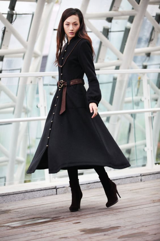 Winter Coat Black Coat Long Wool Coat Winter Jacket Long Sleeve