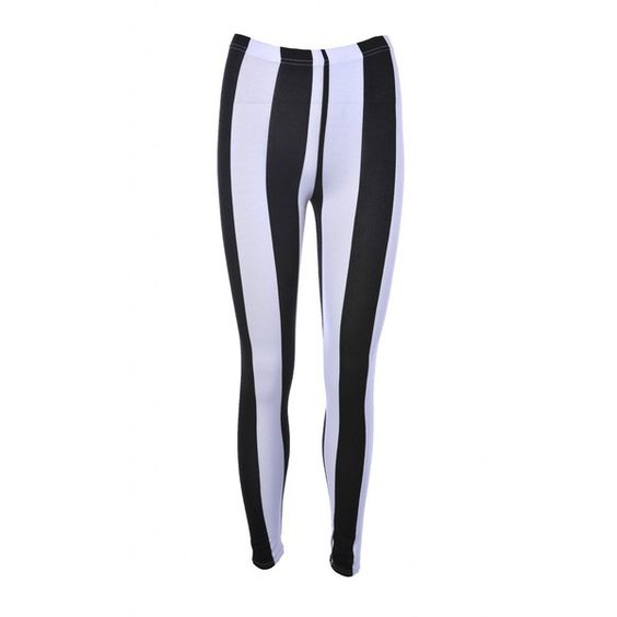 AX Paris Striped Leggings (17 CAD) ❤ liked on Polyvore featuring pants, leggings, black and white stripe pants, striped leggings, stripe leggings, black white leggings and white and black striped pants