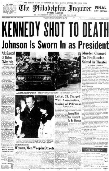 JFK Assassinated - November 22, 1963 - Inquirer front page