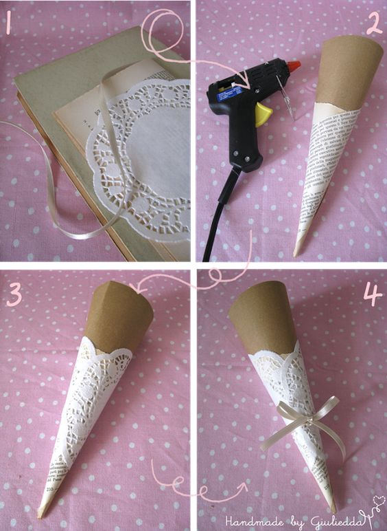 Paper doily wedding cones -good for the candy bar. Could use theme colour as the base.