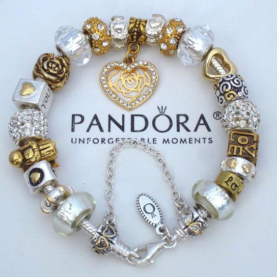 Authentic Pandora Silver Bracelet with Charms Gold Plt Heart Angel Love Box New #PandoraBracelet
