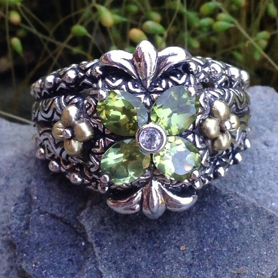 Barbara Bixby .925 18k Peridot Flower Ring .925 Sterling, 18k YG, Barbara Bixby Ring, with 4-5 mm Peridot Marquise Faceted Stones, 1 Round Bezel Set 1.5mm White Topaz, 2 18k YG Lotus Flowers, Fully finished inside, Stunning Detail, NWT Barbara Bixby Jewelry Rings