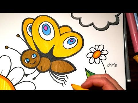 How To Draw A Butterfly Coloring With Markers Youtube Colorful Butterflies Drawings Drawing Videos For Kids