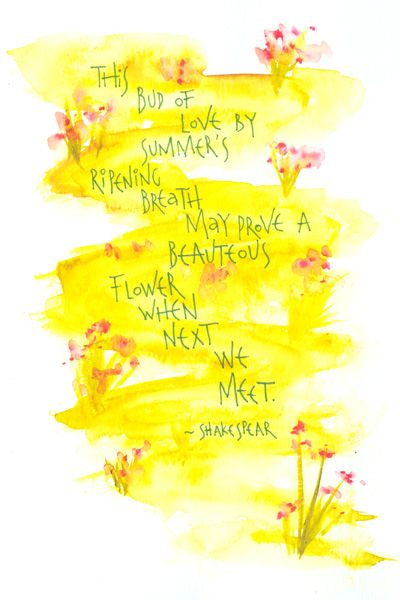 """Use of shakespeare quote on a """"path"""" of yellow background watercolour"""
