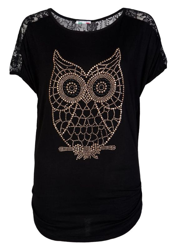 Lace Back Embellish Owl Top / Black - Womens Clothing Sale, Womens ...
