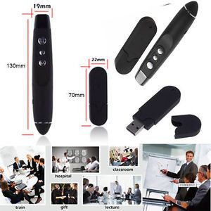 Wireless PowerPoint Presentation USB Presenter Remote with Laser Pointer Black B