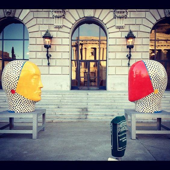 "Thru Nov 2012, Jun Kaneko's ""Heads"" outside of San Francisco Opera"