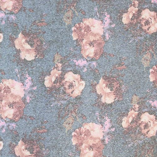 Vintage Watercolor Roses On Blue Cotton Jersey Tri Blend Knit Fabric Lovely Vintage Look Muted Mauve And Pink Watercolor Rose Tropical Fabric Novelty Fabric