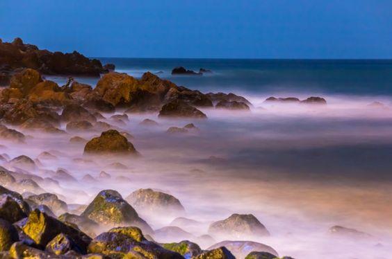 Atlantic ocean Coast-The beautiful waters of the Atlantic ocean with its rocky coastline near the City of Dakar in Senegal