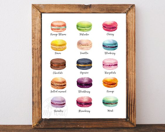 Macaron print, kitchen decor wall art, French macarons, kitchen print, food art, macaroons, instant download, PRINTABLE WALL ART, 8x10 11x14 by AdornMyWall on Etsy