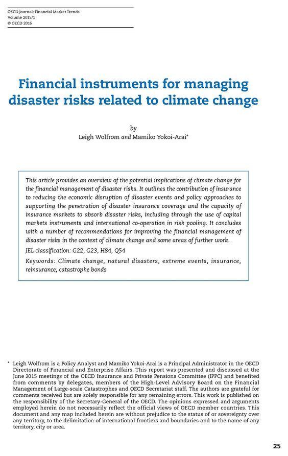 Financial instruments for managing disaster risks related to climate change   OECD READ edition