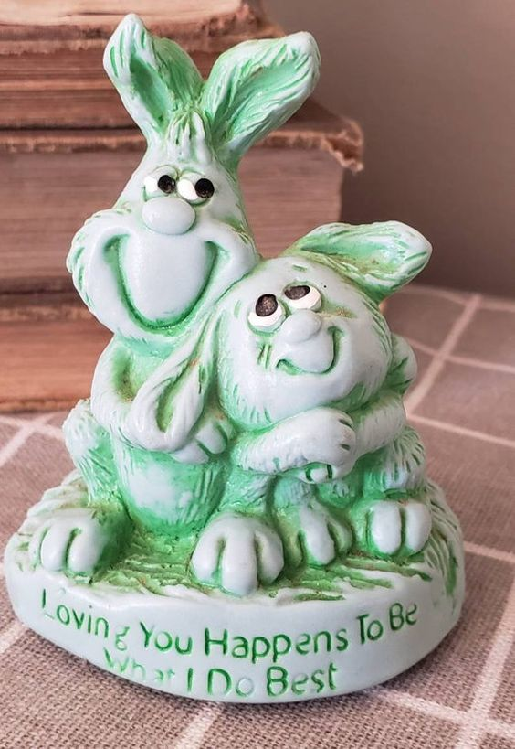 BUNNY RABBIT FIGURINE 1976 Great American dream collectible easter green 23039 usa made sculpture gift Loving you what I do best