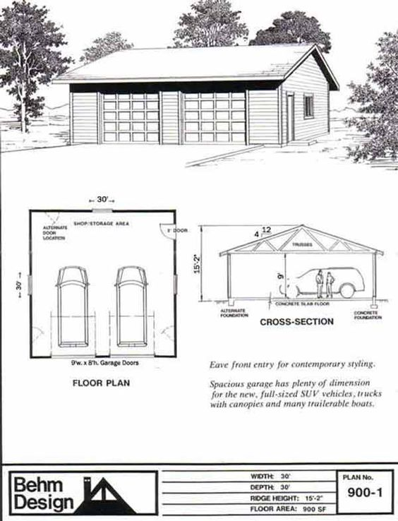 Oversized Reverse Gable 2 Car Garage Plan 900 1 30 X 30 By Behm