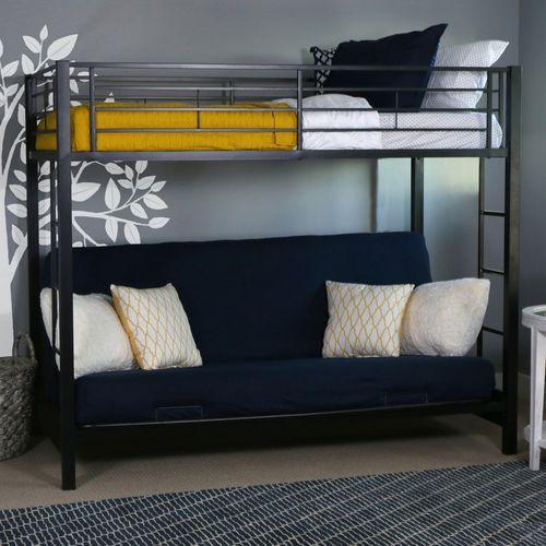 Incredible Kids Black Metal Twin Over Futon Bunk Bed Futon Bunk Bed Machost Co Dining Chair Design Ideas Machostcouk