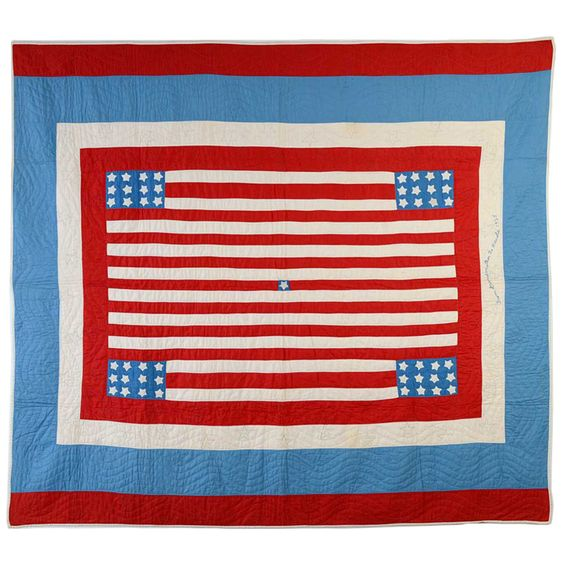 Patriotic Quilt, 1935, Berks County, PA area, Stella Rubin, 1st Dibs