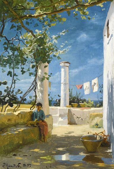 SUMMER IN CAPRI by Peder Mork Monsted (Danish 1859-1941)