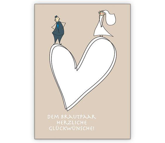 romantische hochzeits gl ckwunschkarte mit herz. Black Bedroom Furniture Sets. Home Design Ideas
