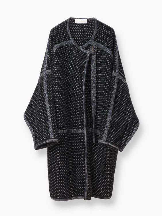 Chloé wraparound coat in wool & cashmere tweed from the Fall 2016 collection