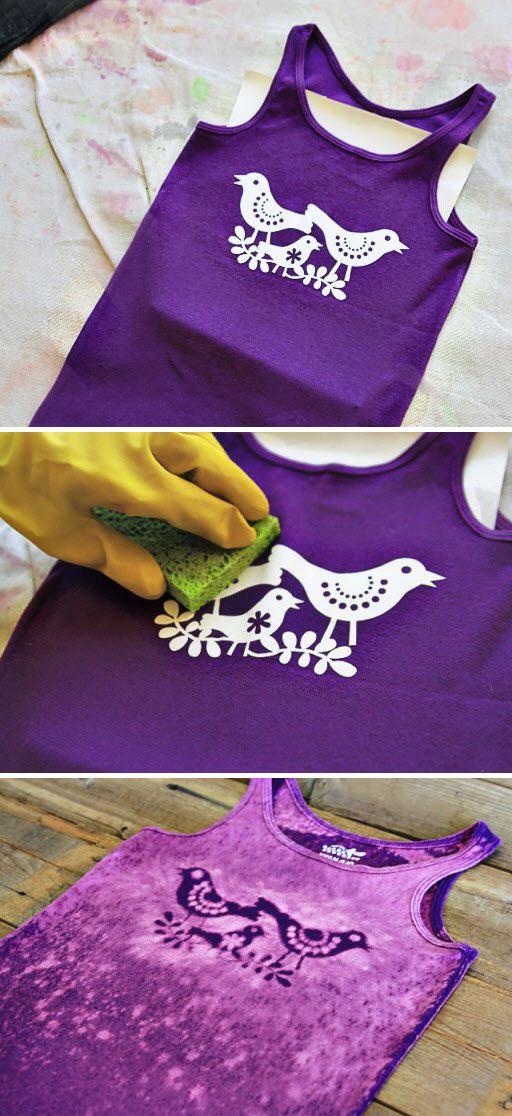 T-shirt personnalisé au pochoir et eau de javel