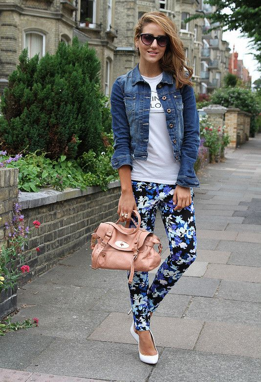 Floral printed pants paired with a denim jacket make the perfect