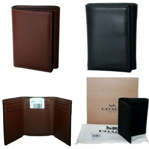 Coach Men/'s Sport Calf Leather Trifold Wallet Saddle F23845