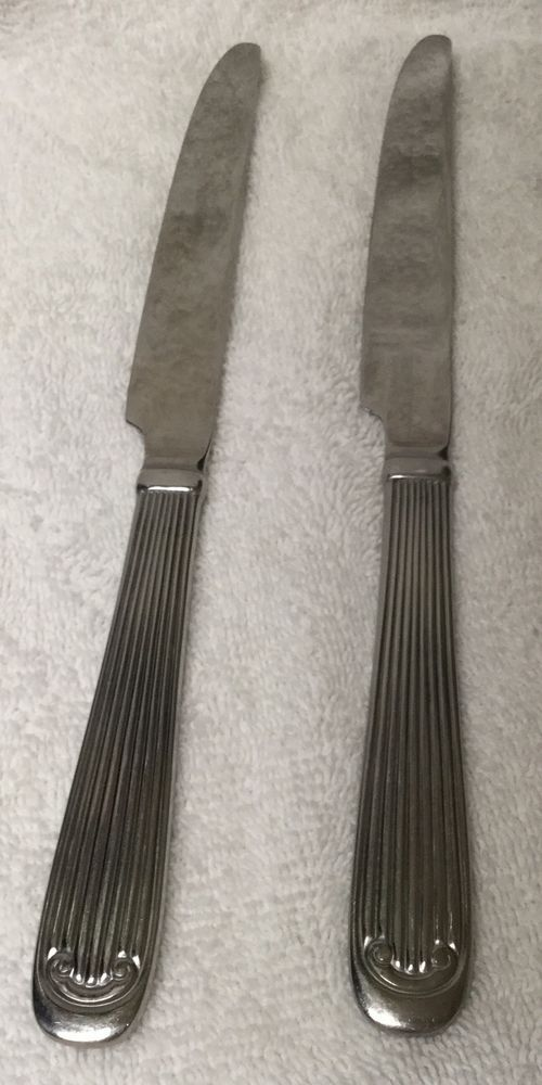 2 GODINGER dinner knives heavy Classic Column pattern Stainless Steel knife EUC #Godinger