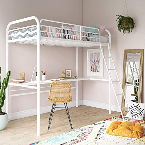 Chic Dhp Bed Twin Size Frame Metal White Desk Loft Furniture