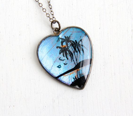 SALE- Vintage Blue Morpho Butterfly Wing Necklace- 1940s Sterling Silver Souvenir Tourist Tropical Scene Jewelry on Etsy, $50.00